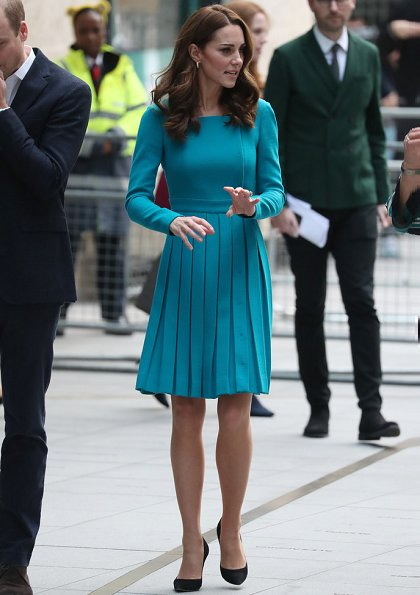 Kate Middleton is repeating her teal Emilia Wickstead dress and her Asprey leaf earrings. Kate is wearing a teal Emilia Wickstead dress