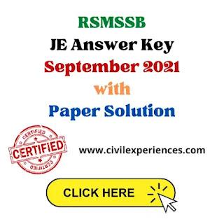 RSMSSB JEn Civil Answer Key September 2021 – Download PDF