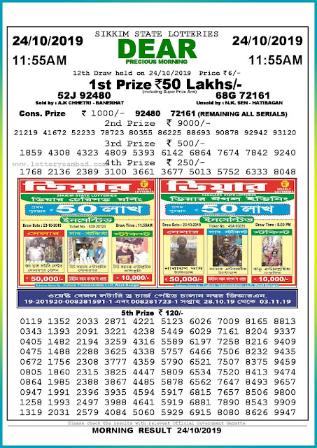 24-10-2019 Sikkim State Lottery Result 11.55 AM-lotterysambadresults.com