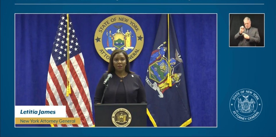 NY Attorney General James at the Press Conference Announcing the Lawsuit. Facebook Screenshot. January 14, 2021.