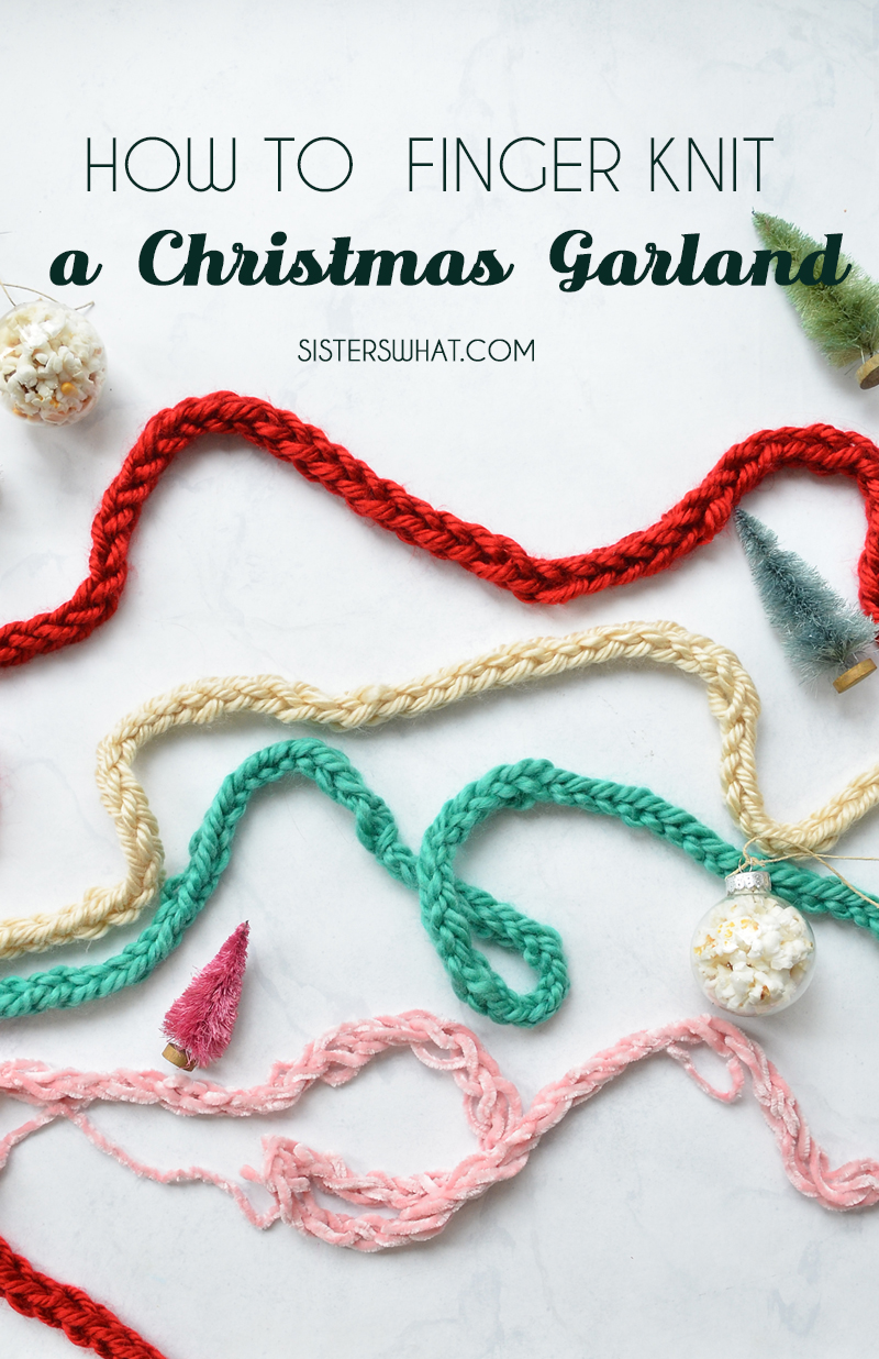 how to finger knit a christmas garland