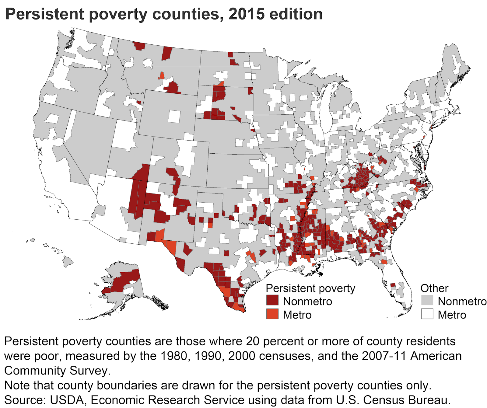 the region is one of the most densely persistent poverty region in the nation perhaps second only to the mississippi delta as illustrated by this map