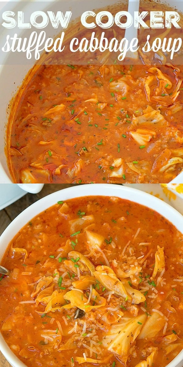 Slow Cooker Stuffed Cabbage Soup #slowcooker