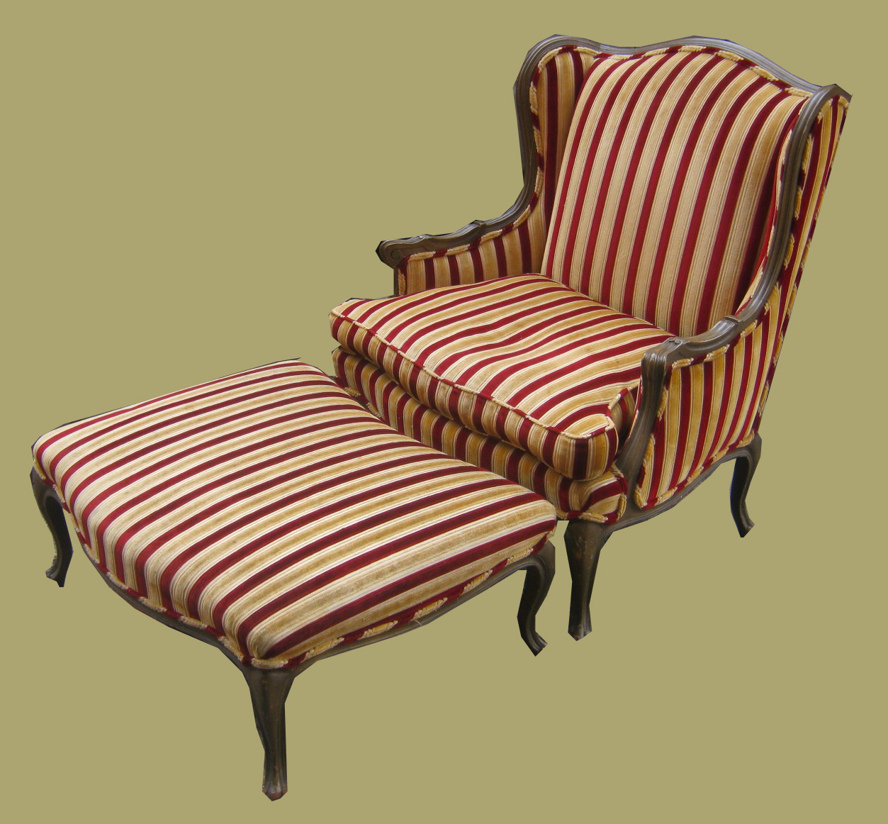 striped wingback chair personalized for toddler uhuru furniture and collectibles velvet wing
