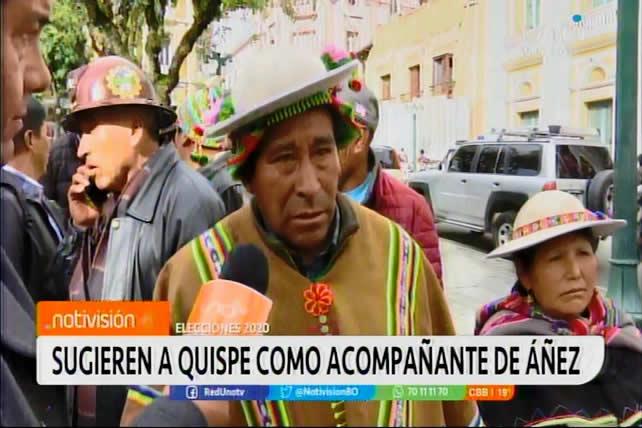 """Indígenas originarios piden que el """"tata"""" Quispe vaya de acompañante de Jeanine Áñez"""