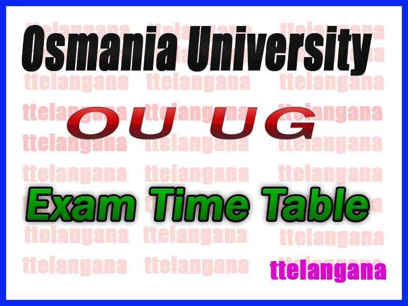 OU Osmania University BA B.Sc B.Com BCA (CBCS) 2nd Semester Time Table
