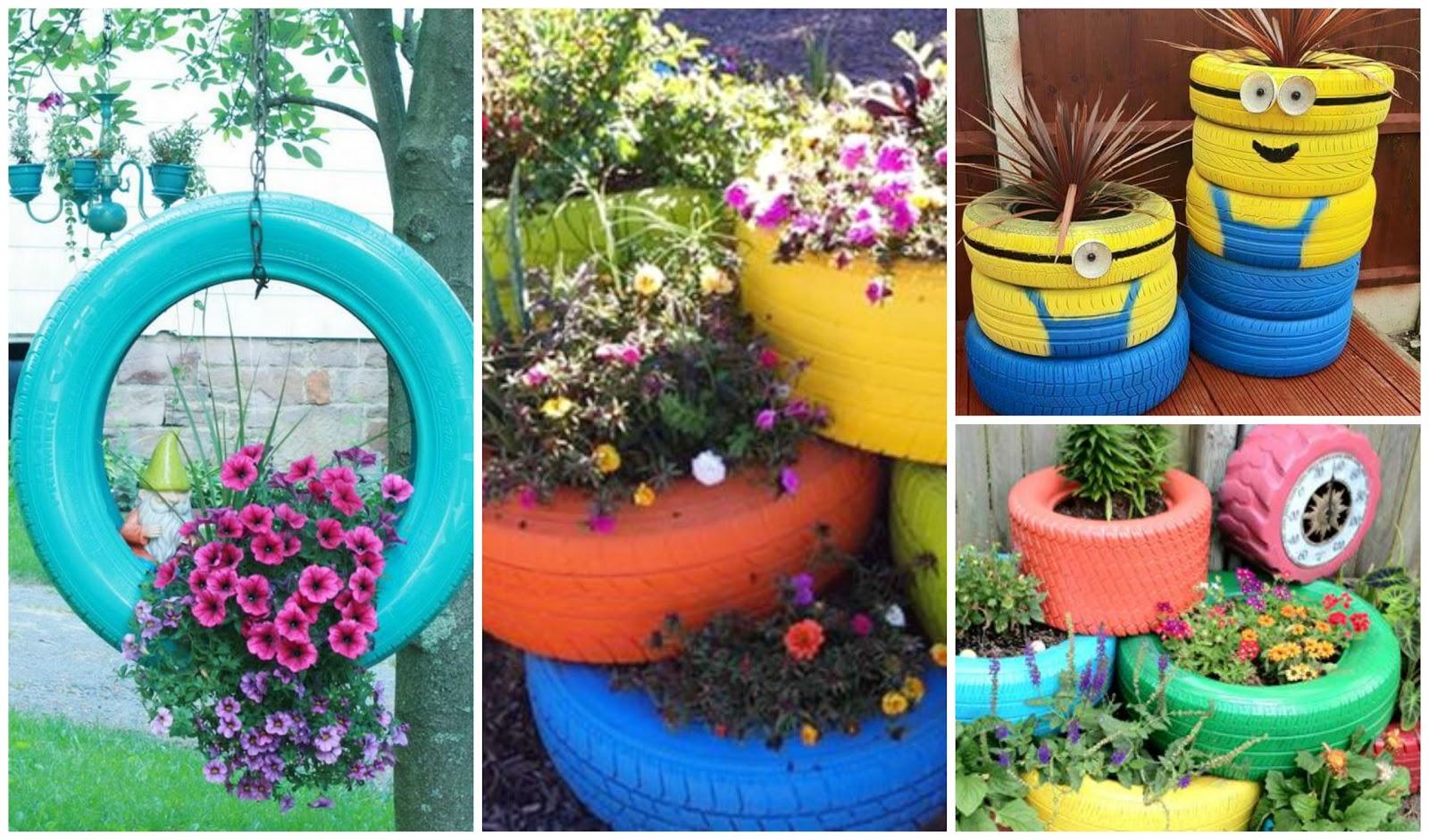 Reciclando con erika reciclaje de llantas o neum ticos for Modelos de jardines pequenos con llantas
