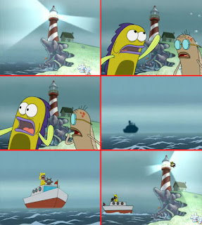 Polosan meme spongebob dan patrick 38 - pak tua jenkins mau menabrak mercusuar di laut