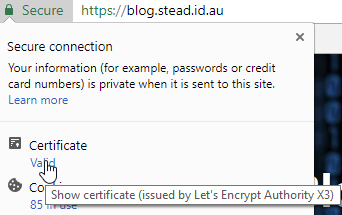Site marked as Secure, and Certificate is Valid, issued by Let's Encrypt Authority