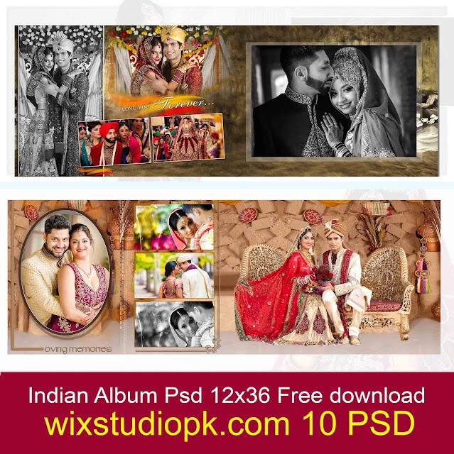 10 Creative Wedding album Design 12x36 psd 10 Sheets Free download
