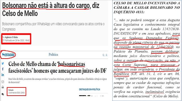 EXCLUSIVO!! O placar das ameaças e a sugestão de Celso de Mello para a Câmara Cassar Bolsonaro