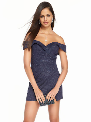 Off The Shoulder Alyce Paric Homecoming Short Dress Navy Color