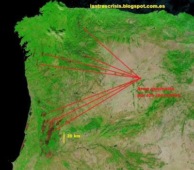 Incendios en Portugal y en Galicia