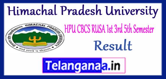 HPU CBCS RUSA Himachal Pradesh University 1st 3rd 5th UG Semester Result 2017-18