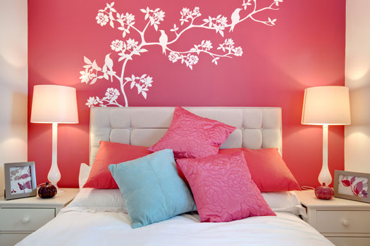 pink cherry blossom painting bedroom