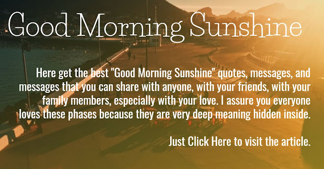 "Here you get the best ""good morning sunshine"" that everyone can love and you can share these phases with any anyone."
