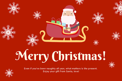Merry Christmas written with Santa on cart and red background.