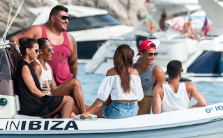 Real Madrid star Cristiano Ronaldo giggles with brunette beauty on holiday in Ibiza after Eiza Gonzalez slams romance