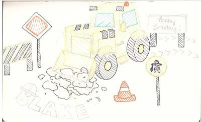 bulldozer birthday cake sketch