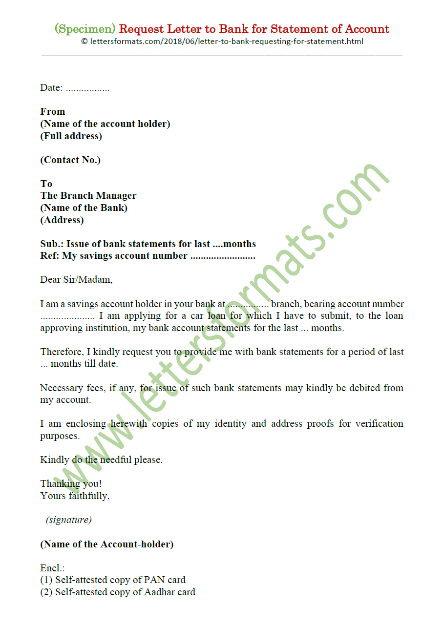 request letter to bank manager for home loan statement