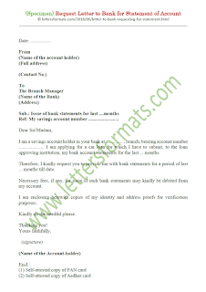 how to write a letter to bank manager for my account statement