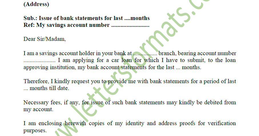 Request Letter To Bank For Statement Of Account Sample