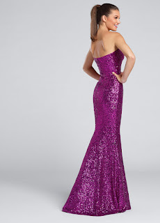 purple sequined mermaid prom dress