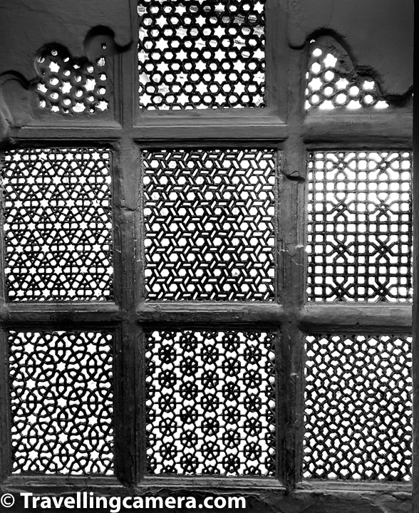 When you moving between different parts of Udaipur City Palace, you have to go through narrow pathways and all of them have different kinds of jalidaar windows for ventilation. Above photograph shows one of such netted windows. One needs to be careful while walking through these as your head can hit the top, especially when there are steps. So mind your head and you need to be extra careful if your height is more than 5 feet 5 inches.