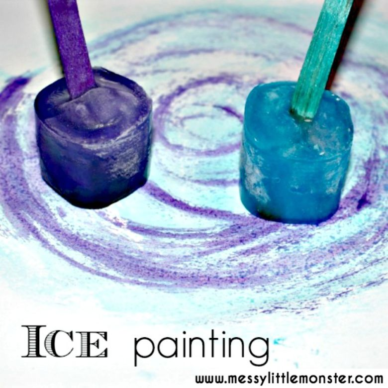 activities for babies - taste safe ice painting