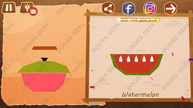 Chigiri: Paper Puzzle Novice Level 15 (Watermelon) Solution, Walkthrough, Cheats