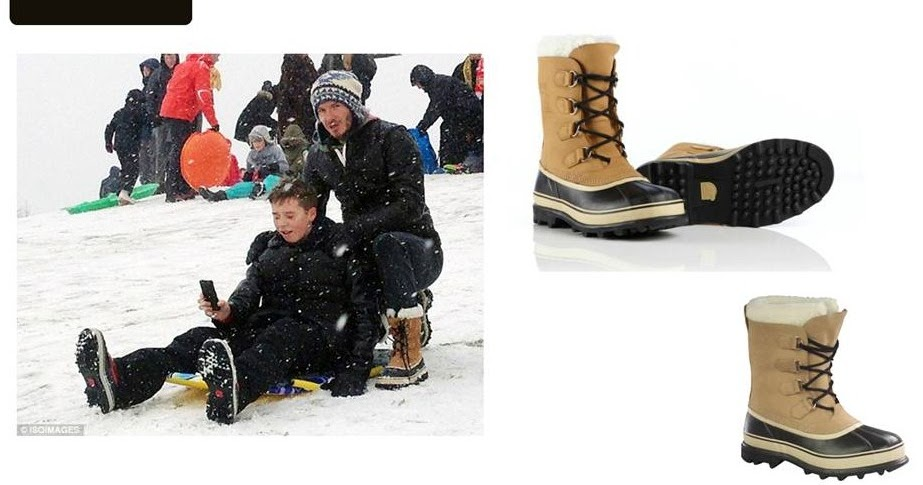 caa7b681339 men s styling  David Beckham wears SOREL Caribou Boots for the Snow