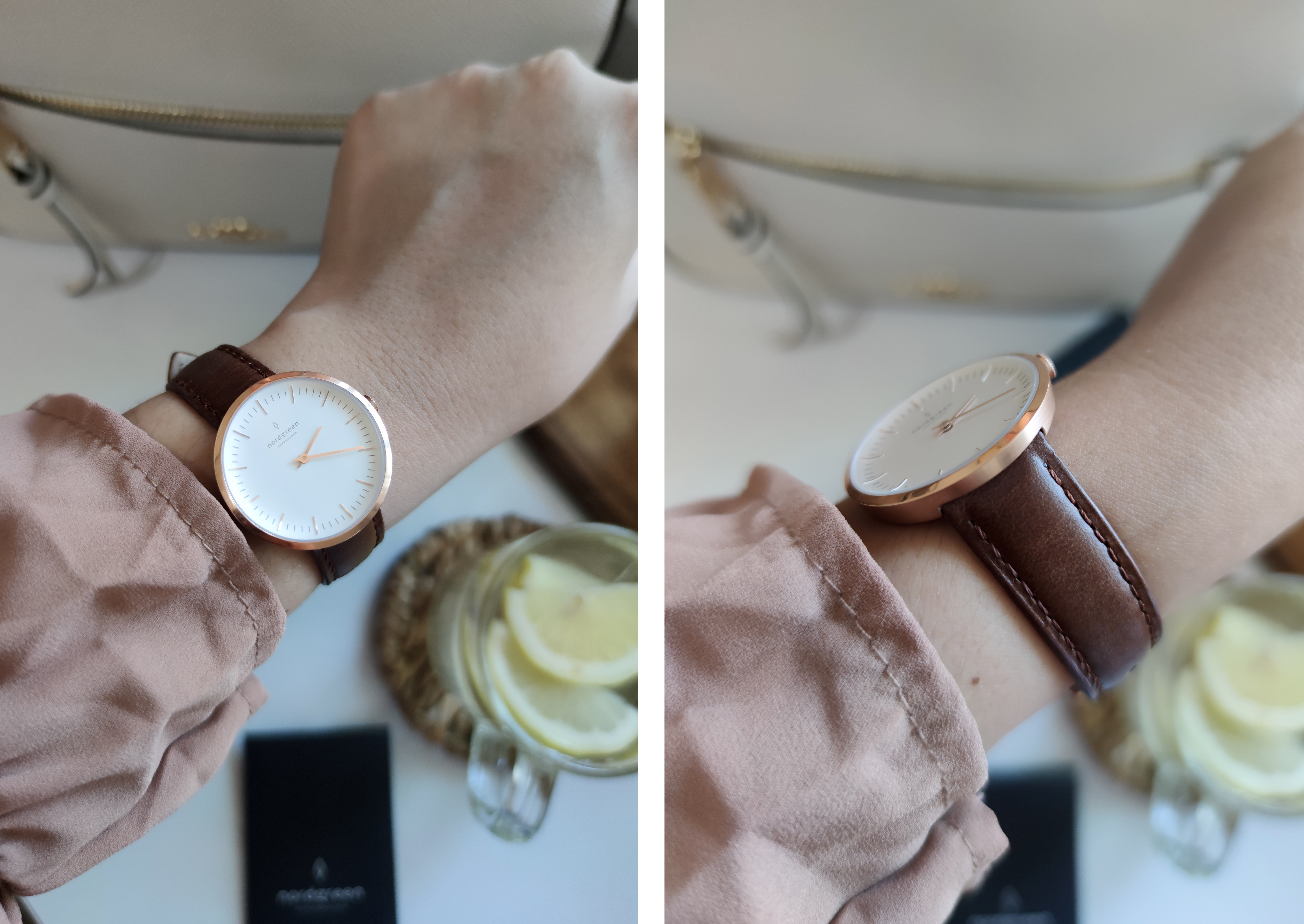 NORDGREEN ROSE GOLD INFINITY WATCH IN BROWN LEATHER DESIGN INSPIRED BY NATURE