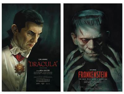 Universal Monsters Frankenstein & Dracula Prints by Greg Staples x Vice Press x Bottleneck Gallery