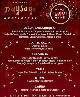 Kalamış Paysage Restaurant İstanbul Yılbaşı Programı 2020 Menüsü