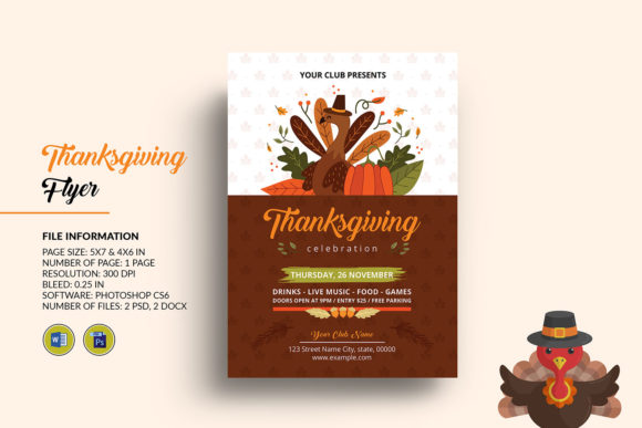 Thanksgiving Party Flyer Template 5735008