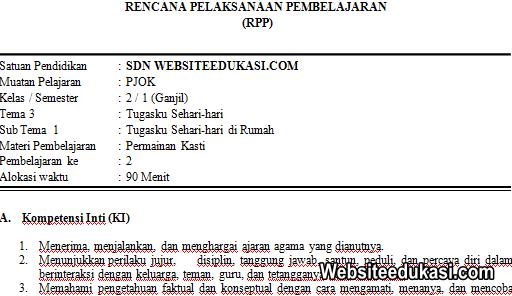 RPP PJOK Kelas 2 Tema 3 Kurikulum 2013 Revisi 2019