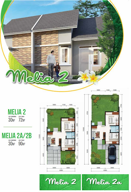 Model dan Denah Rumah MELIA 2 - 30/72 dan 2A - 30/90 Citra Indah City