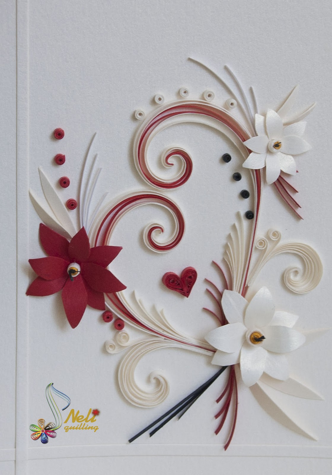 neli quilling art quilling cards  with love
