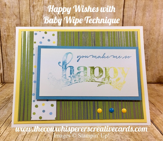 Card, Happy Wishes, Baby Wipe Technique