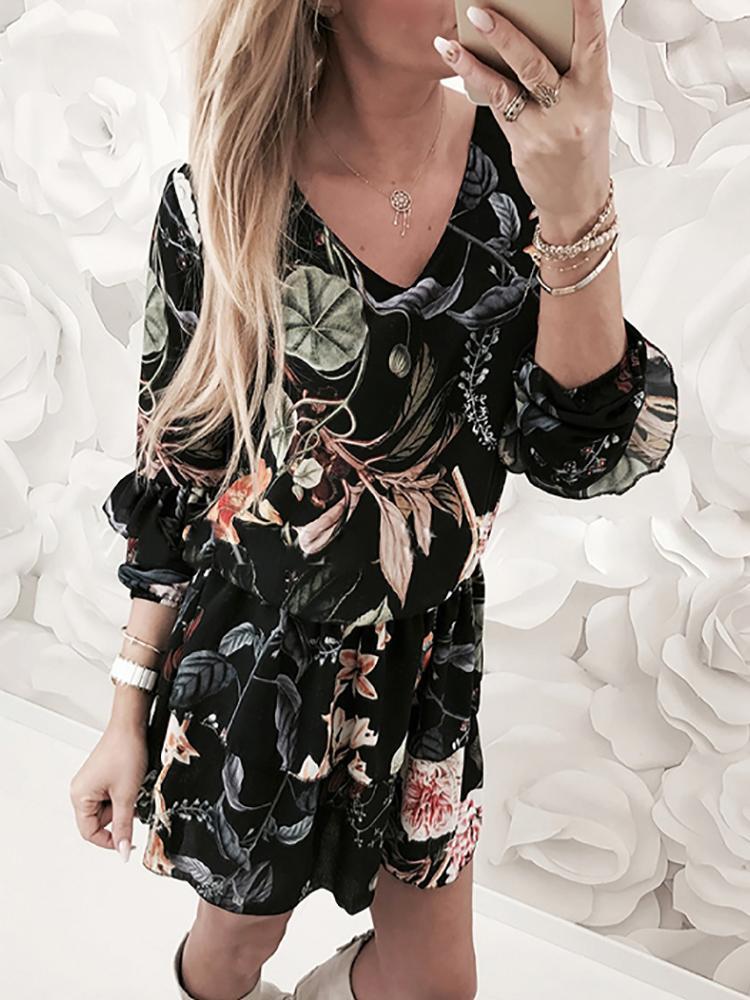 Vintage Floral V Neck Pleated Casual Dress