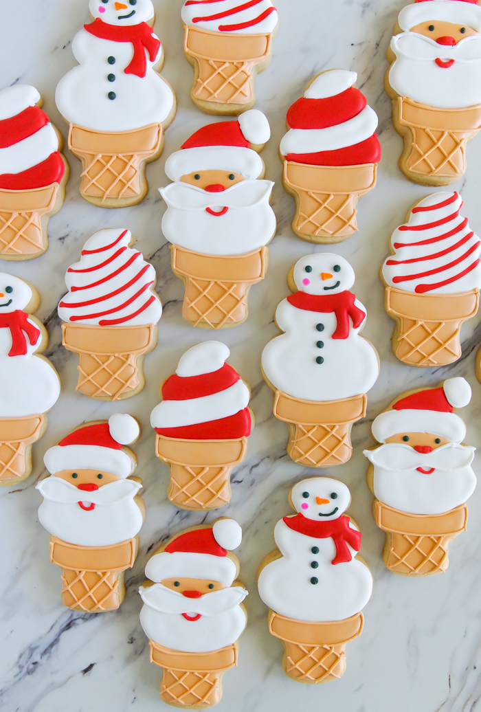 Christmas In July Santa And Snowman Ice Cream Cookies Bake At 350