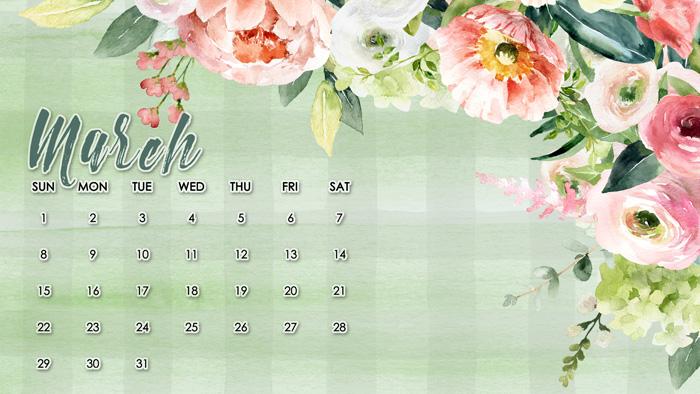 Spring Desktop Calendar