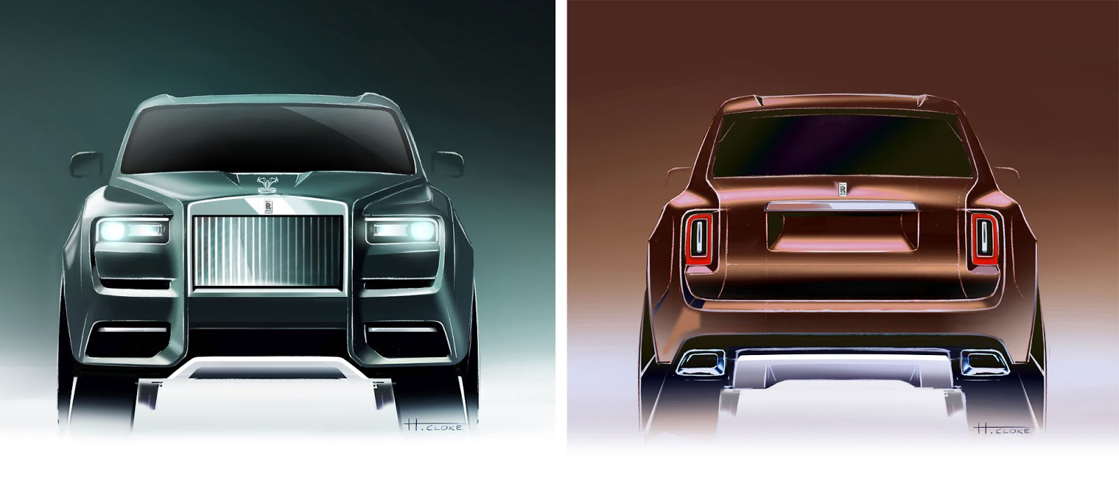 Rolls-Royce Cullinan front and rear sketches by Henry Cloke
