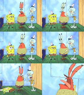 Polosan meme spongebob dan patrick 35 - squidward mengintrogasi tuan krab