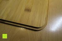Deckel unten: Brotkasten aus Metall mit Deckel aus Bambus | 32 x 20 x 12 cm | Bewahren Sie Ihr Brot luftdicht und hygienisch auf