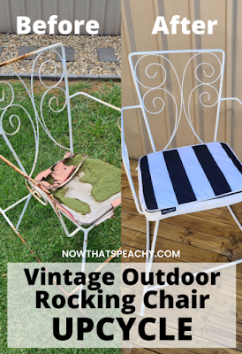 Before & After Vintage Metal outdoor rocking Chair upcycling DIY project to try this weekend