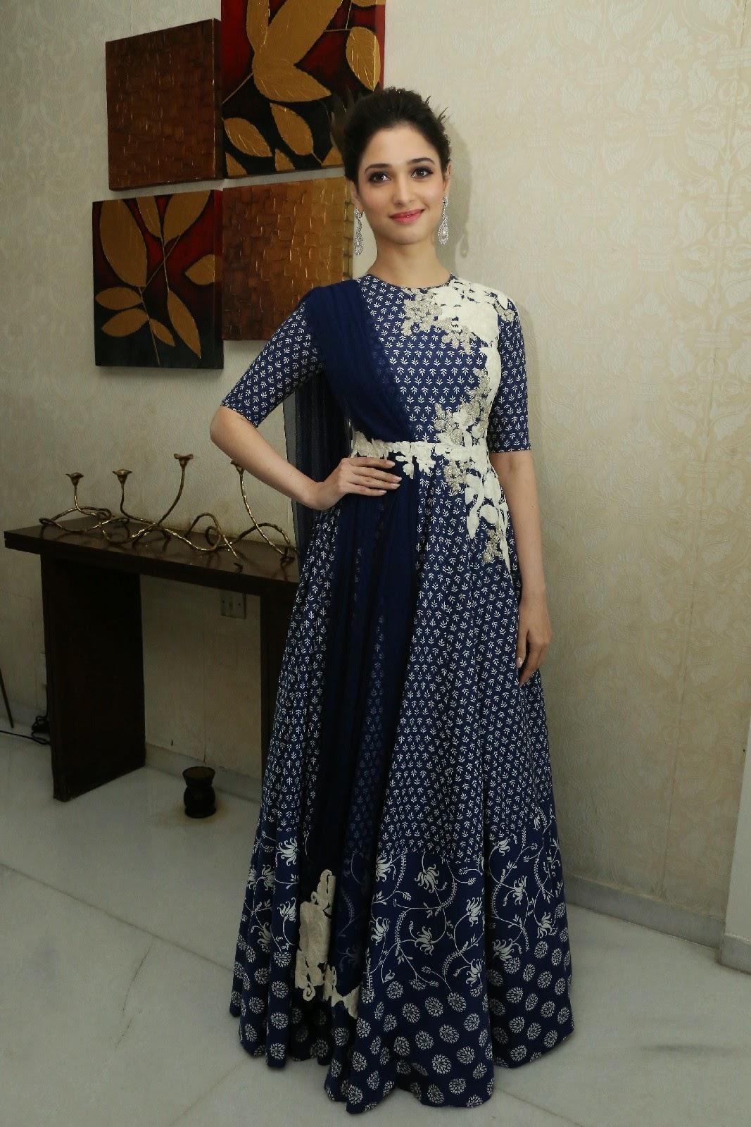 Tamanna Bhatia Photos In Blue Anarkali Suit At Platinum Disc