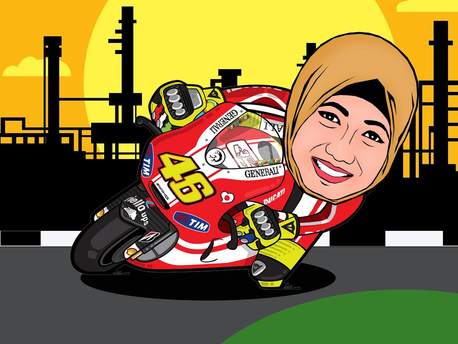 Karikatur Naik Sepeda Motor & Mobil