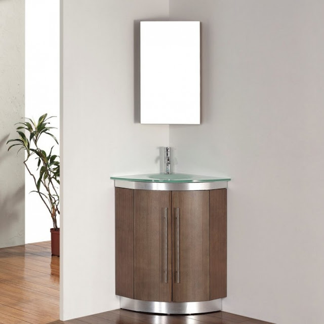 corner pedestal sink cabinet for bathroom with glass countertop single wall mirror