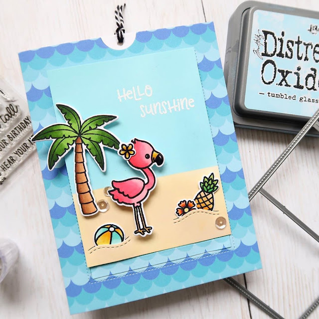 Sunny Studio Stamps: Fabulous Flamingos Sliding Window Hello Sunshine Summer Beach Card by Laura Sterckx